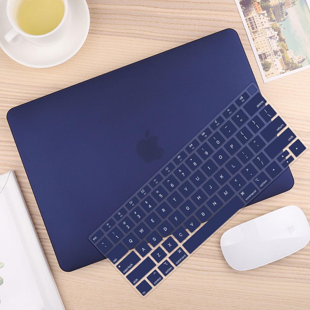 Чехол для ноутбука 4 в 1 для MacBook Air 11, 13 дюймов и Pro retina 13,3, 15,,,, кристально Матовый Жесткий чехол для клавиатуры - Цвет: Navy Blue