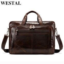 WESTAL Многофункциональный Для мужчин портфель сумка Для мужчин из натуральной кожи сумки для ноутбуков 15 ''офисная сумка для Для мужчин докум...