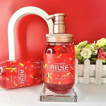 Whole Sale AILKE Strawberry+Rose+Papaya+sakura Fruit Lightening Body Wash Private label Skin Whitening Bath Shower Gel 500ml 1