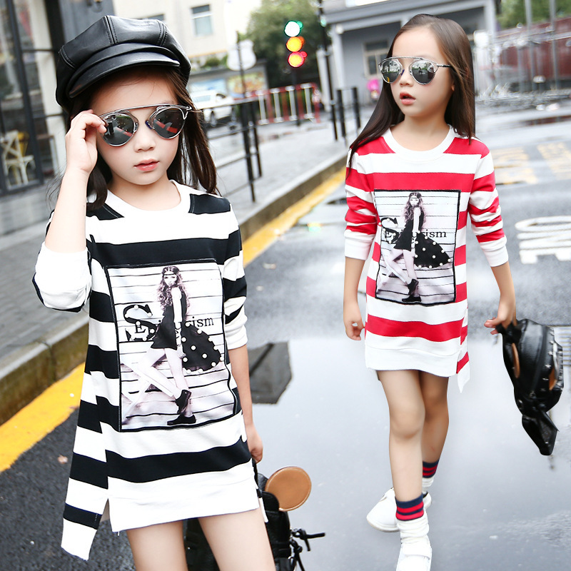 3 4 5 6 7 8 9 10 11 12 Year Girls Dress Striped Casual Kids Clothes For Girl Long Sleeve O-neck Children Shirt Dresses Clothing