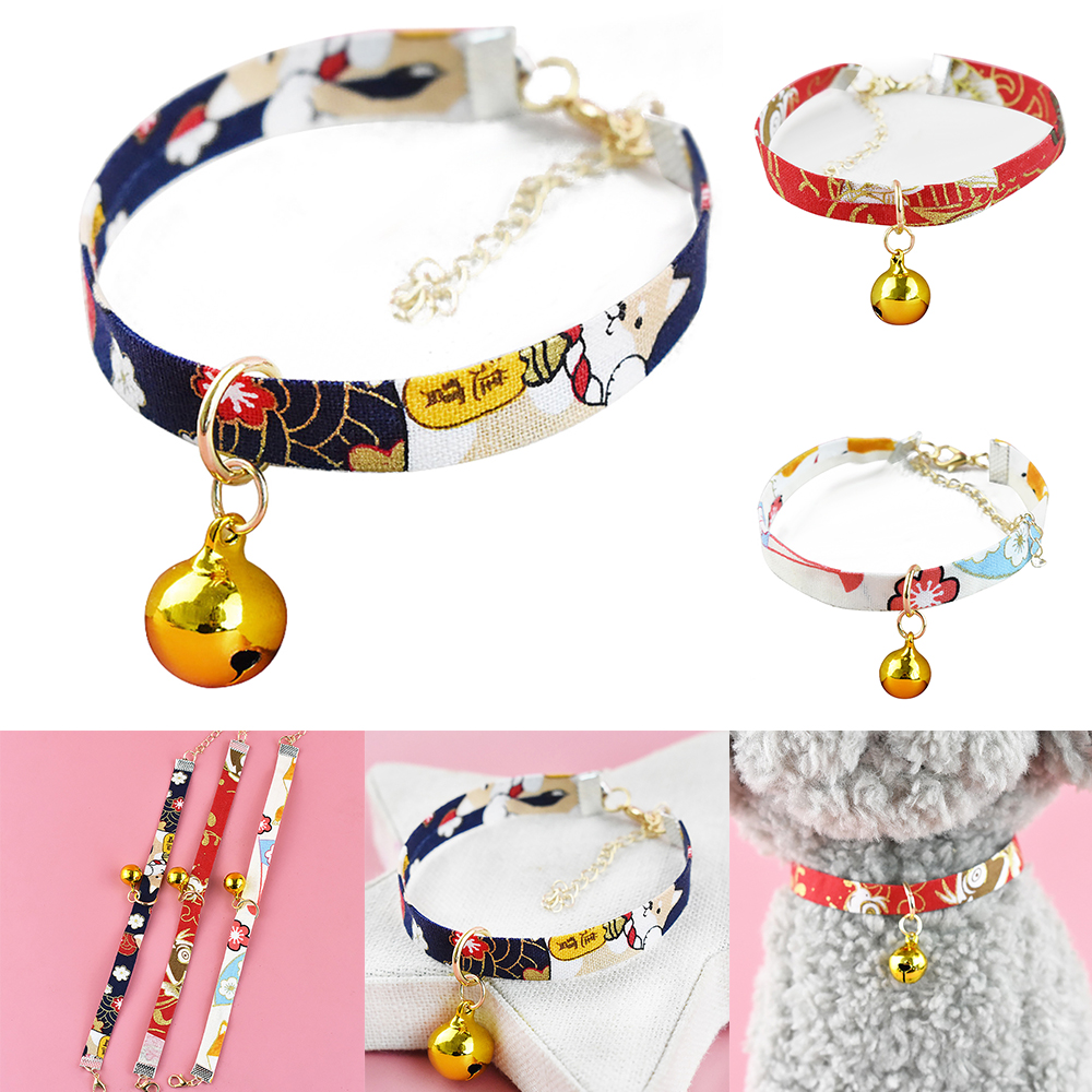 Japanese Style Pet Collar Handmade Dog Cat Collar Printed Necktie Necklace With Bell For Puppy Kitten Pet Cat Accessories