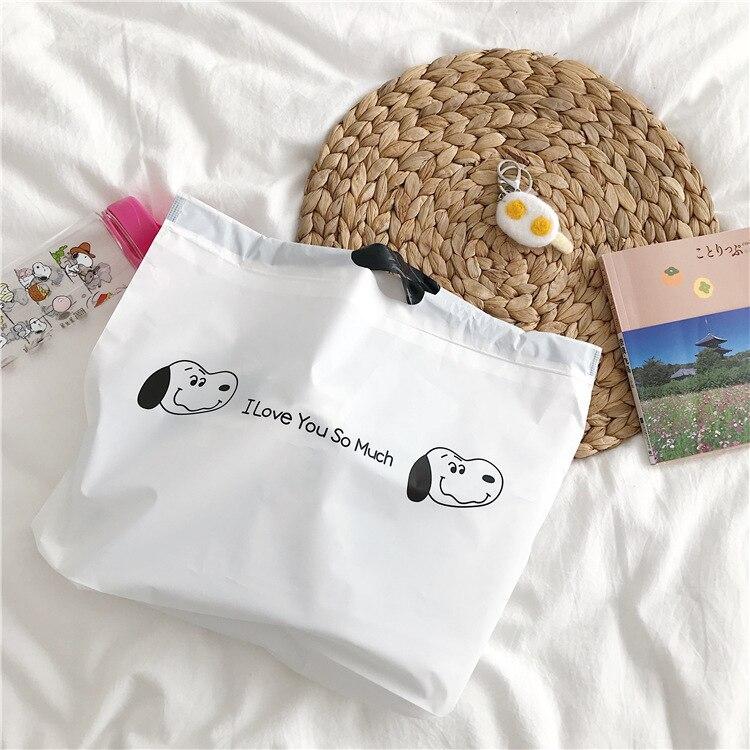 Sandro Ins Cute Cartoon Puppy Tote Bag Foldable Shopping Bag Drawstring Stationery Storage Bag Plastic Bag