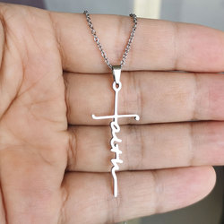 Ожерелье с подвеской-крестом из нержавеющей стали, 1 шт.