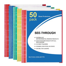 50 Packs A4 Size Lightweight Clear Sheet Protectors for Binder 11-Hole Punched Paper Page Protectors with Color-Coded Edges