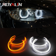 цена на ROYALIN Daytime Running Lights LED Angel Eyes DRL Switchback Halo Rings 131mm 146mm DTM Style For BMW 3 Series E46 M3 E39 E36