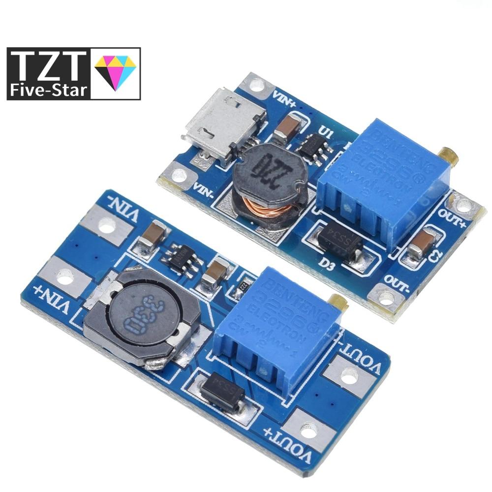 Tzt mt3608 DC-DC intensifique o módulo da fonte de alimentação do impulsionador do conversor aumentando a saída máxima 28v 2a da placa step-up para arduino