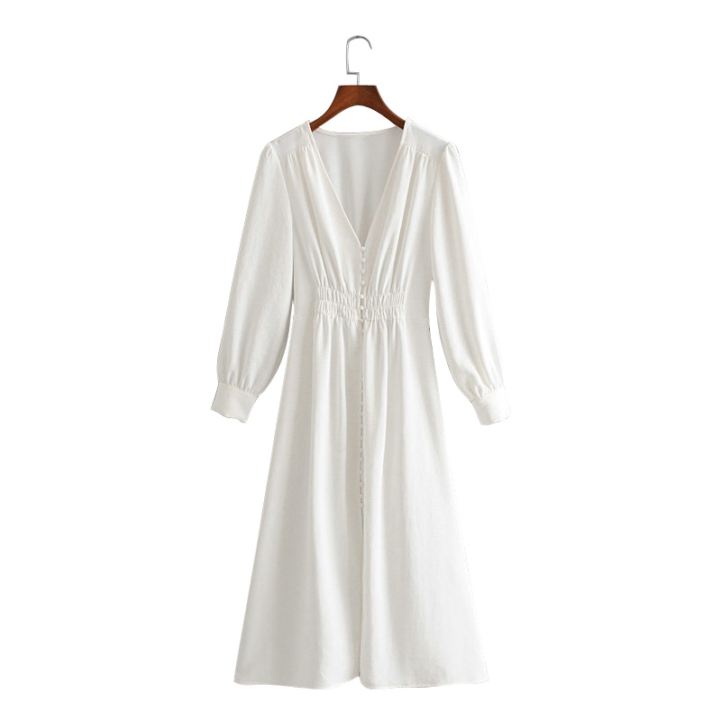 Tangada Korea Solid White Dress Women V Neck Long Sleeve Pleated Vintage Korean Fashion Loose Long Dress Ladies Vestidos 3H313