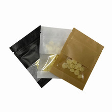 Black White Brown Kraft Paper Zip Lock Packaging Bags with Clear Window Resealable Zipper Pouches For Candy Snack Package