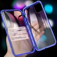 Tongdaytech manyetik kılıf Iphone SE2 X XS 11 Pro Max XR 8 7 6s artı Coque 360 temperli cam Metal telefon kapak mıknatıs kılıfları