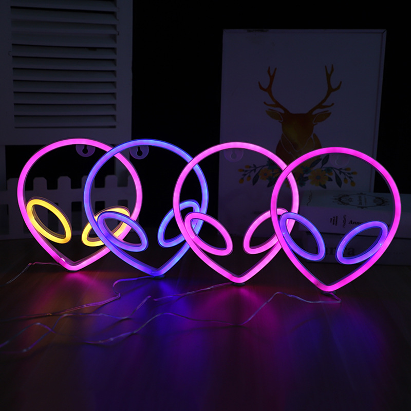 LED Neon Sign Saucerman Shaped Night Light Decorative Atmosphere Lamp for Home Party Wedding Xmas Gift Neon Light Sign Lamp New LED Night Lights  - AliExpress