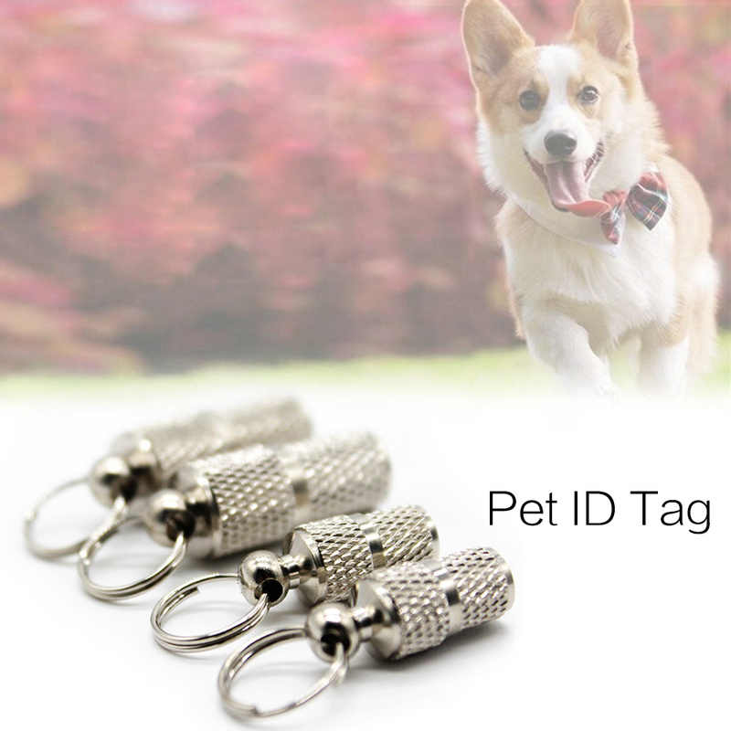 1 ud. Collar de perro, tarjeta de identidad para mascotas, pérdida de mascotas, etiquetas de identificación para perros, cápsula de almacenamiento de plata, etiqueta para mascotas titular, suministros para mascotas