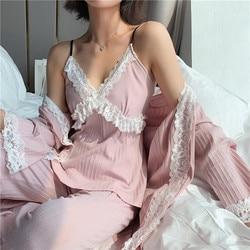 2019 новая зимняя пижама из чистого хлопка с длинными рукавами, комплект из 3 предметов, кружевное сексуальное платье с v-образным вырезом и бр...