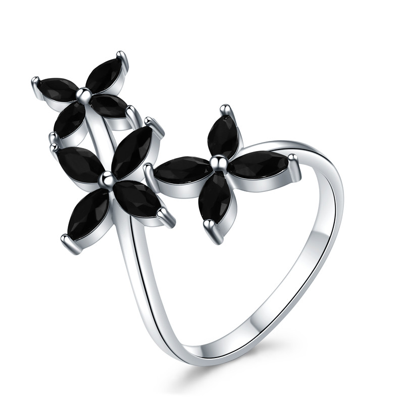 SODROV 925 Sterling Silver Jewelry Rings For Women Black Spinel Flower Finger Ring Silver 925 Jewelry G069