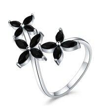 SODROV 925 anillos de joyería de plata de ley para mujer anillo de dedo de flor de Spinel negro plata 925 joyería G069