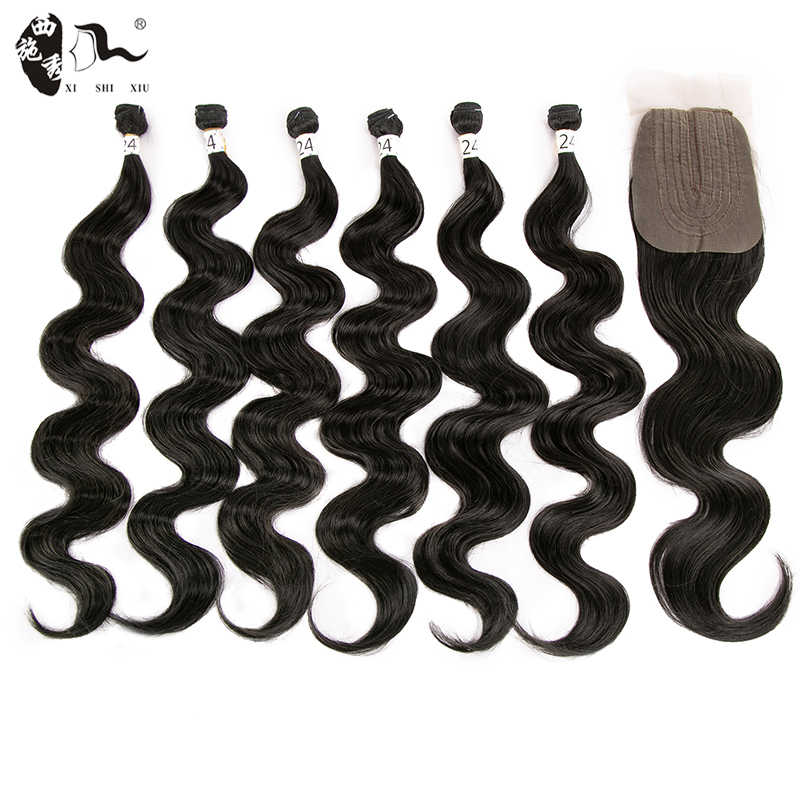 Synthetic Hair Weave 24inch 6Pieces/lot Body/Kinky Straight Wave Hair Bundles With Closure African lace For Women hairExtension