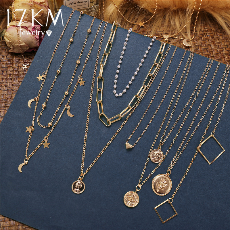 17KM Fashion Gold Moon Star Coin Necklace For Women Bijoux Heart Choker Long Pendants Necklaces 2020 Geometric Vintage Jewelry