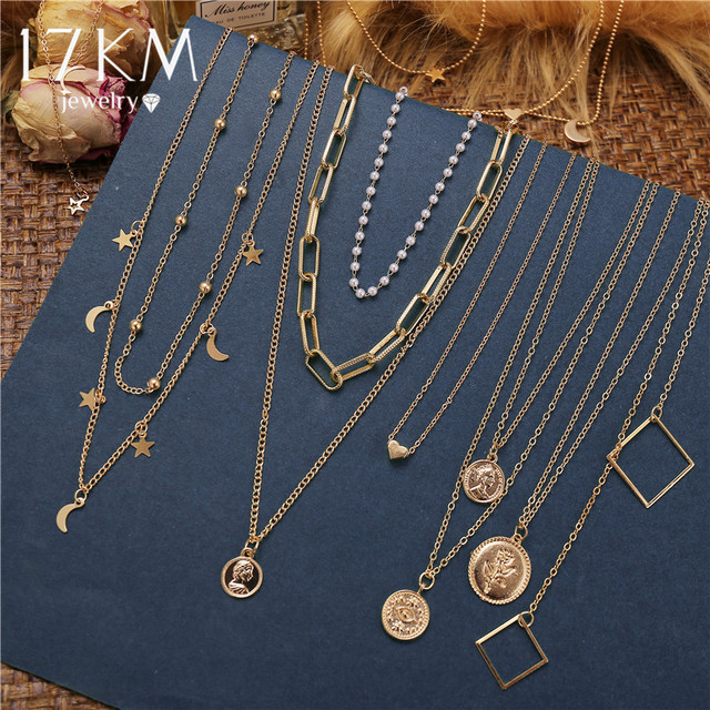 17KM Fashion Gold Moon Star Coin Necklace For Women Bijoux Heart Choker Long Pendants Necklaces 2020 Geometric Vintage Jewelry