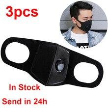 3pcs mouth face mask Breathing Mask Mascara Facial Face Shield Mascarilla Protectora Face Mask Black