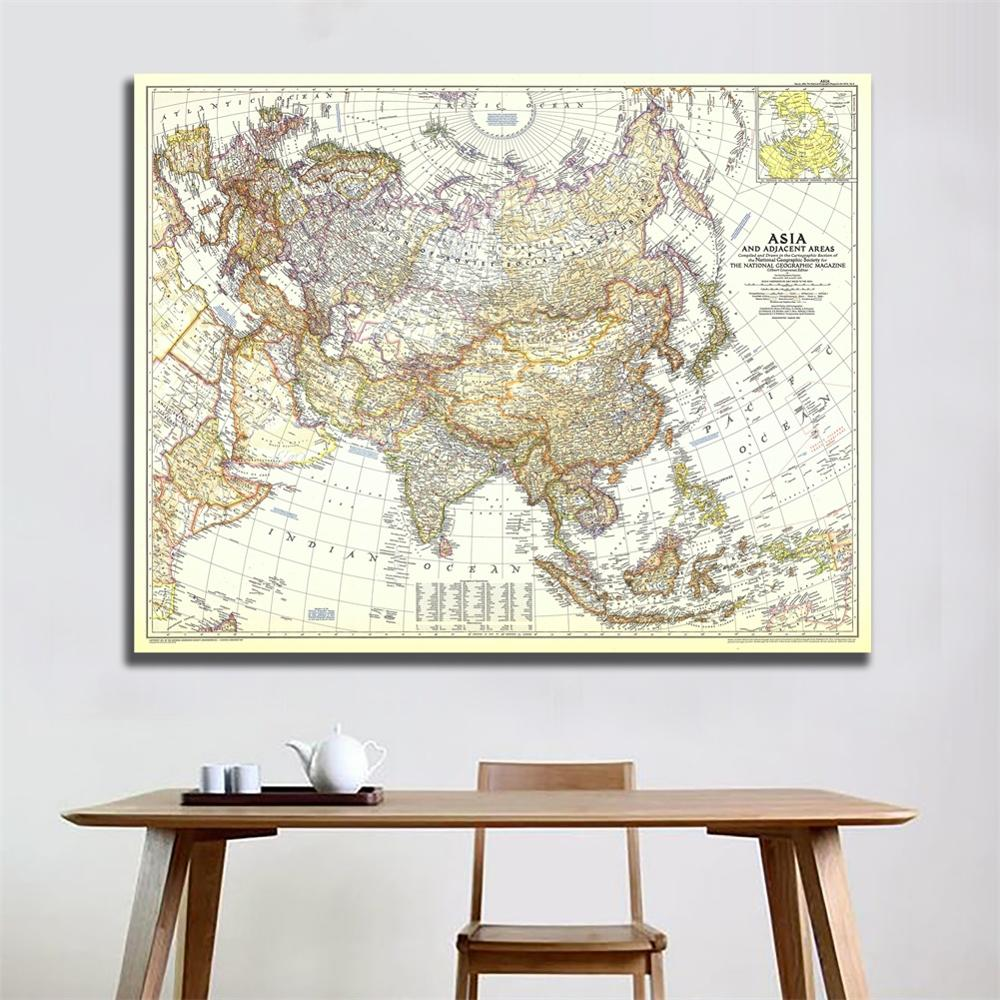 1951 Edition HD Map Of Asia And Adjacent Areas Vinyl Spray Painting Living Room Wall Decor Map For Home/Office Art Crafts