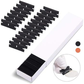 EHDIS 100PCS Double edge Razor Scraper Plastic Blade Vinyl Car Wrap Film Sticker Water Glue Remover Window Tint Glass Clean Tool foshio 100pcs 1 5 razor blade 2pcs glass ceramic clean scraper window tint tool vinyl car wrap film sticker remover squeegee