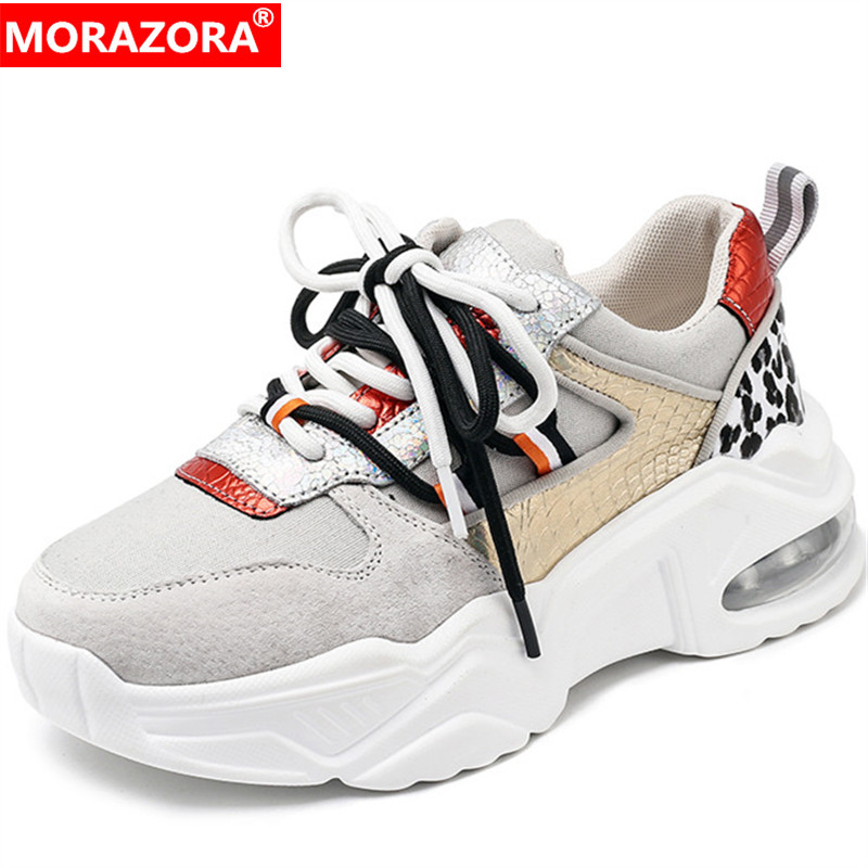 MORAZORA 2020 New Arrival Genuine Leather Shoes Women Sneaker Mixed Colors Lace Up Spring Summer Casual Flat Shoes Woman