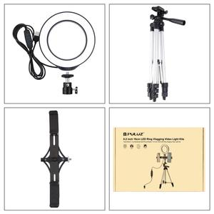 Image 5 - PULUZ Stativ Montieren + Live übertragung Dual Telefon Halterung + 6,2 zoll 16cm LED Ring Vlogging Video Licht Kits live Broadcast Kits