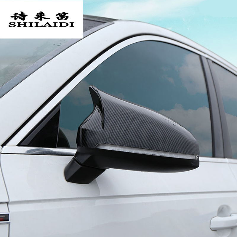 Car styling Carbon fiber for Audi A4 B9 A5 S5 S4 rearview mirror frame door Horn decoration Cover Stickers Trim Auto accessories|Car Stickers| |  - title=