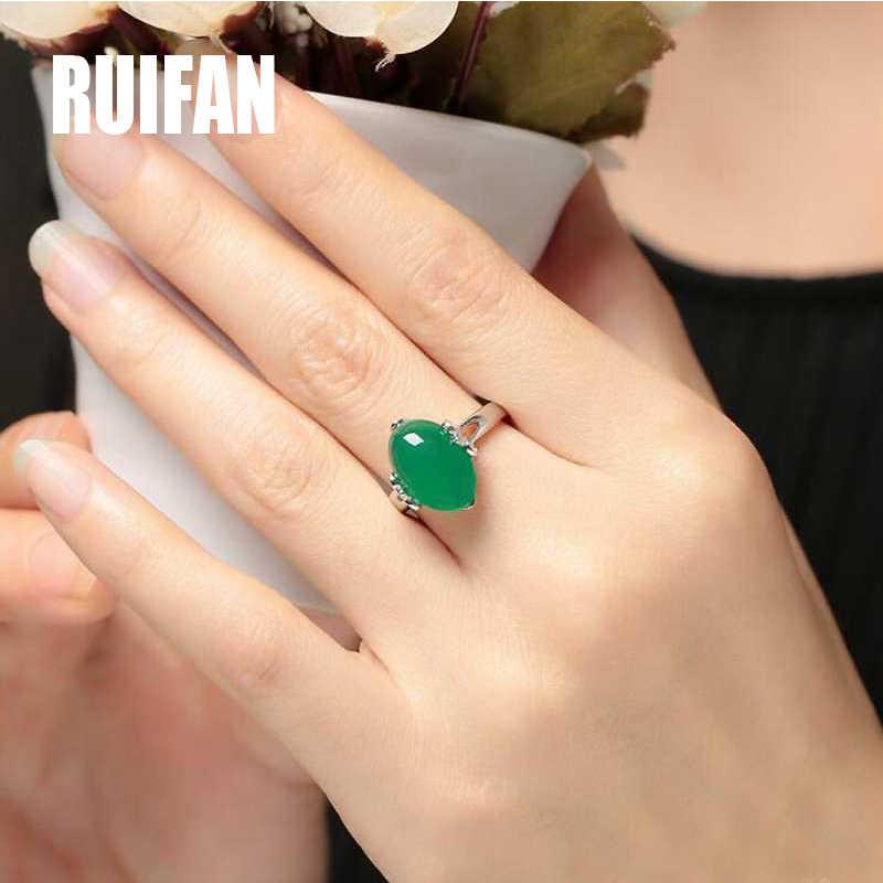 ปรับสีเขียวChalcedonyแหวนสตรีแฟชั่นอินเทรนด์เครื่องประดับสำหรับสุภาพสตรีหญิงคริสต์มาสของขวัญYRI119