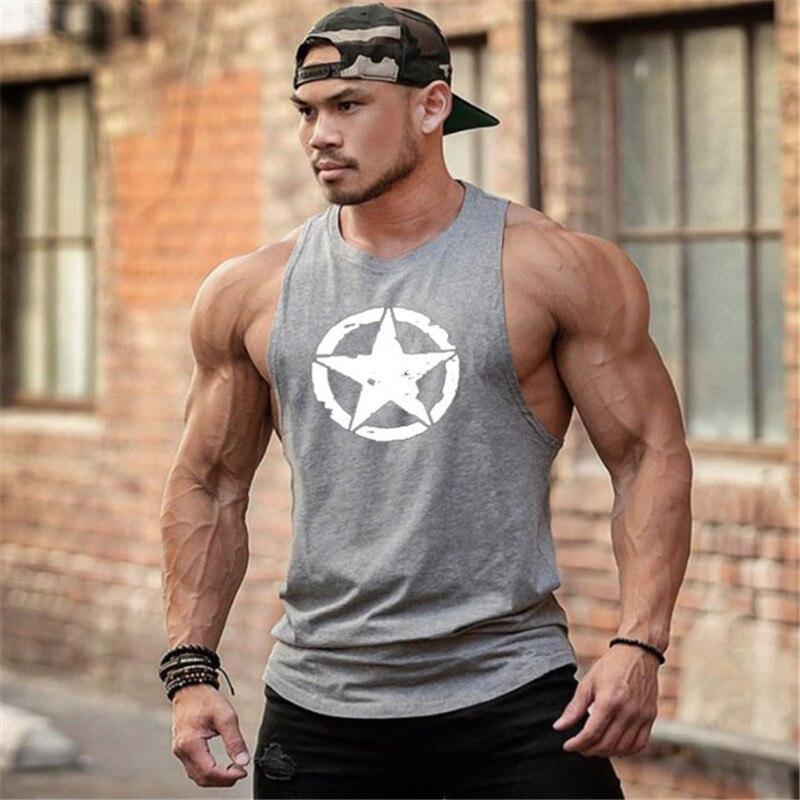 Новая мода хлопчатобумажные рубашки без рукавов майка Мужская Фитнес рубашка мужская майка Бодибилдинг тренировочный жилет для фитнеса