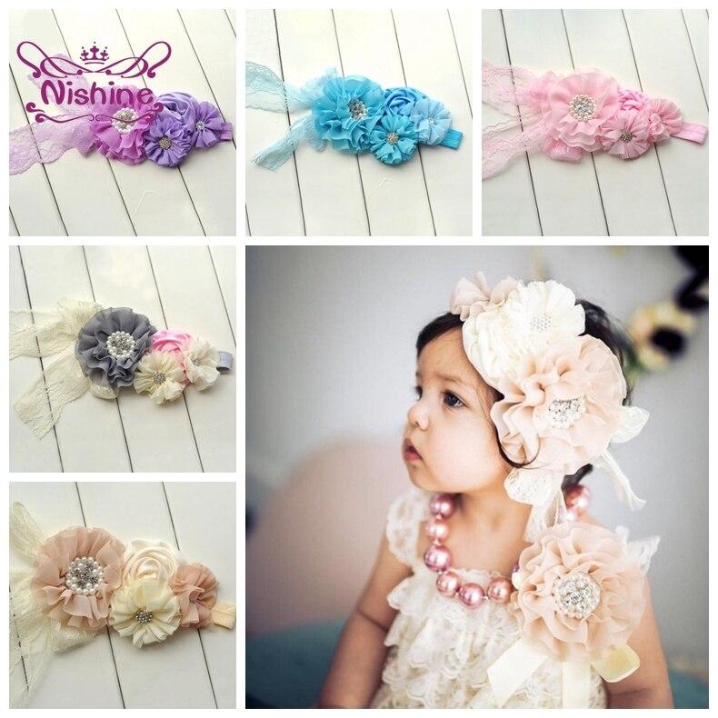 Nishine koronkowa opaska dla dzieci dziewczynek kwiat perłowy akcesoria do włosów nakrycia głowy noworodka kwiatowy Turban dla dzieci urodziny prezenty