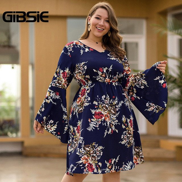 GIBSIE Flare Long Sleeve V-neck Tunic Women Dress Autumn Floral Print High Waist Casual Plus Size Knee Length Mid A-line Dress 4