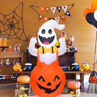 Behogar Cute Inflatable Air Blow Pumpkin Ghost with LED Light for Halloween Indoor Outdoor Garden Yard Decoration EU Plug