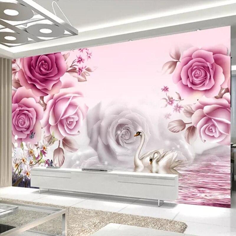 Custom Mural Wallpaper 3D Romantic Pink Flower Swan Lake Landscape Wall Painting Living Room Bedroom Home Decor Papel De Parede