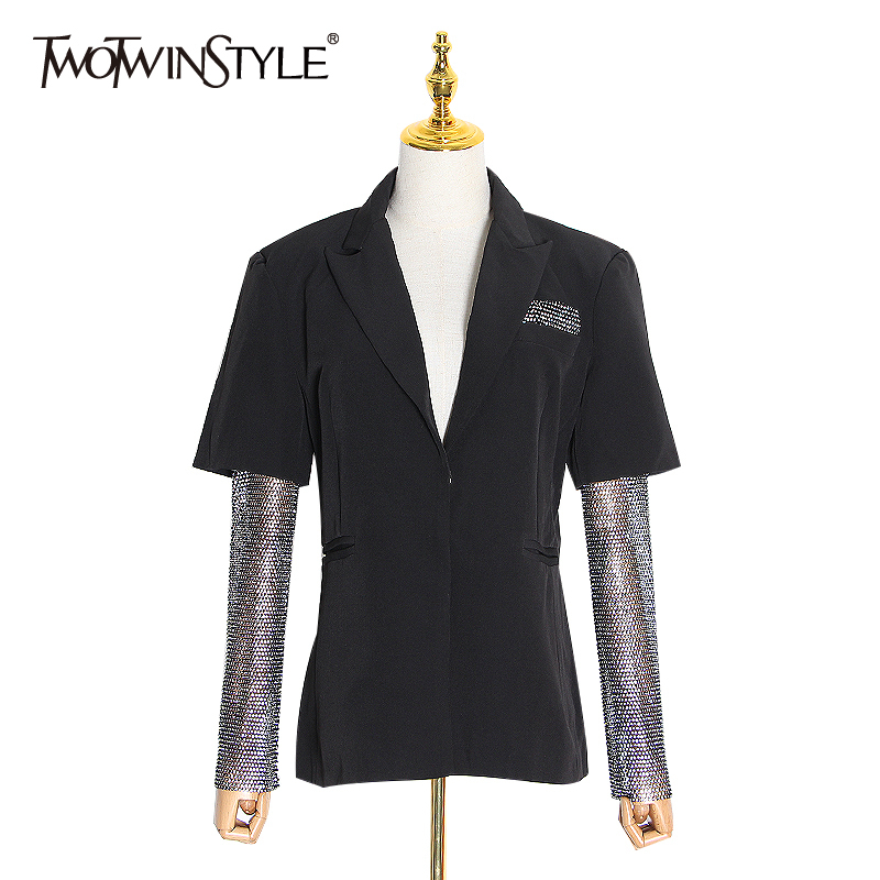TWOTWINSTYLE Hit Color Blazer Women Notched Long Sleeve Tunic Diamond Patchwork Elegant Suits Female Fashion Clothing 2020 Tide