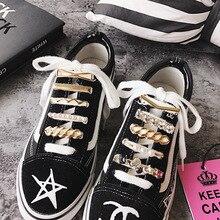 1Pcs Shoelaces Decoration Metal Shoelace Buckle White Pearl Shoe Accessories Shiny Rhinestones Women Shoes Decorative Accessory darseel shoe accessories shoelaces tat