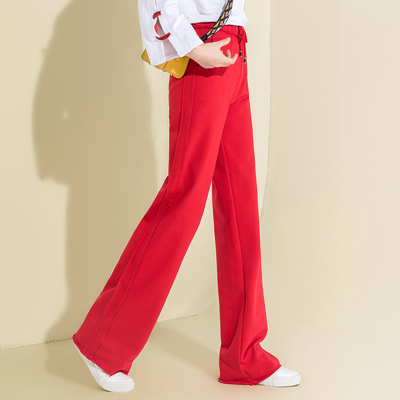Autumn Cotton High Waist Wide Leg Pants Red Palazzo Pants Casual Loose Drawstring Pants Women Sweatpants Full Length Trousers