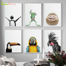 Parrot Animals Wall Art Canvas Painting Cuadros Frog Nordic Poster Print Penguin Pictures For Living Room Hedgehog Unframed