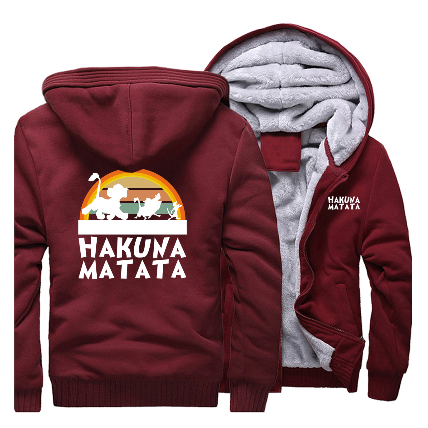Plus Velvet Thicken Hakuna Matata Jackets Men Raglan Hoodie Trend Sweatshirt 2019 Fall Winter Warm Handsome Clothes Tracksuits