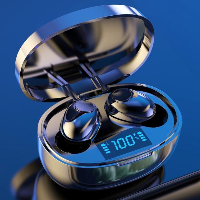 Auriculares inalámbricos TWS Bluetooth 5,0 Mini auriculares estéreo bajo LED pantalla de alimentación Cancelación de ruido deportes impermeable auricular en la oreja