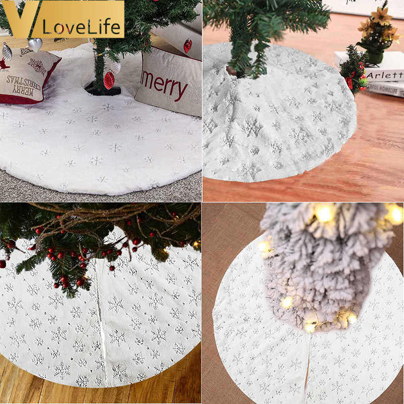 90CM/122CM Christmas Tree Skirt Luxury Faux Fur Christmas Tree Skirt White Tree Skirt for Xmas Party Holiday Decorations