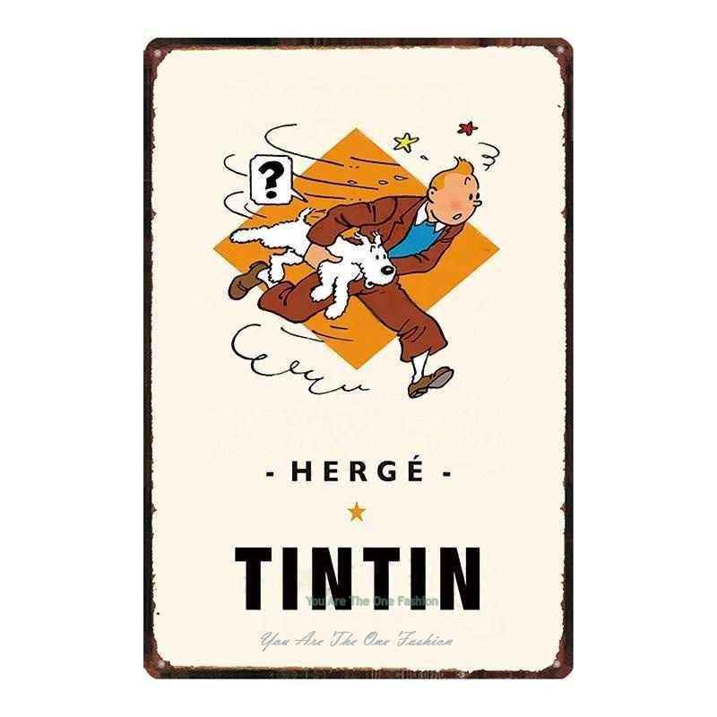 Vintage style rétro en métal étain signe Poster Tintin aventures Hero Cave Wall Home