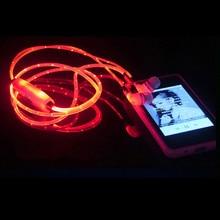 купить EL LED Luminous Glowing Earphone LED Night Light In Ear Earphones Flat Earbuds Glow In The Dark Headset For Iphone hot sale по цене 8988.11 рублей
