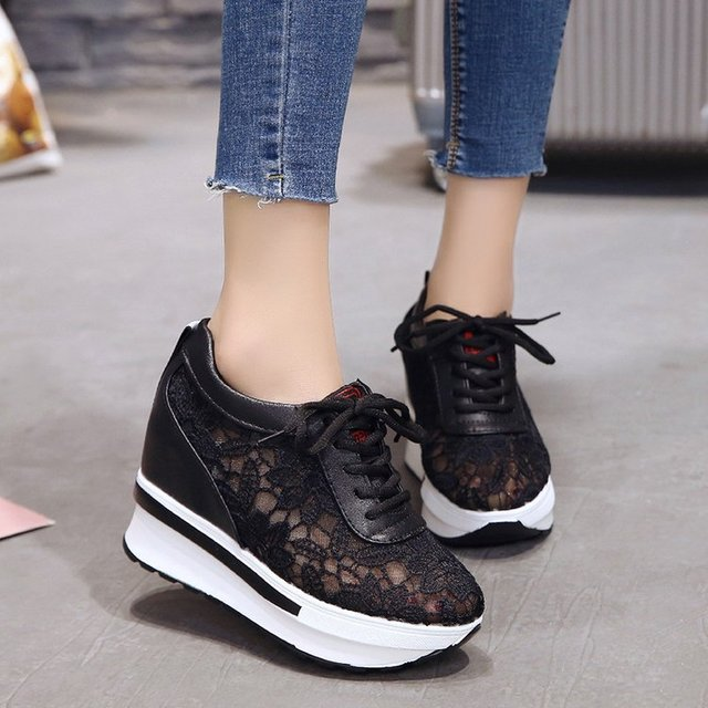 mesh breathable shoes platform heel casual shoes for women 2020 wedges platform shoes