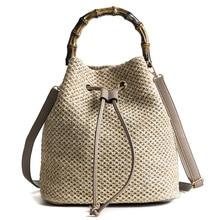 luxury handbags,2019 new straw bag fashion bamboo hand bucket shaped woven womens bag, one shoulder diagonal straddle