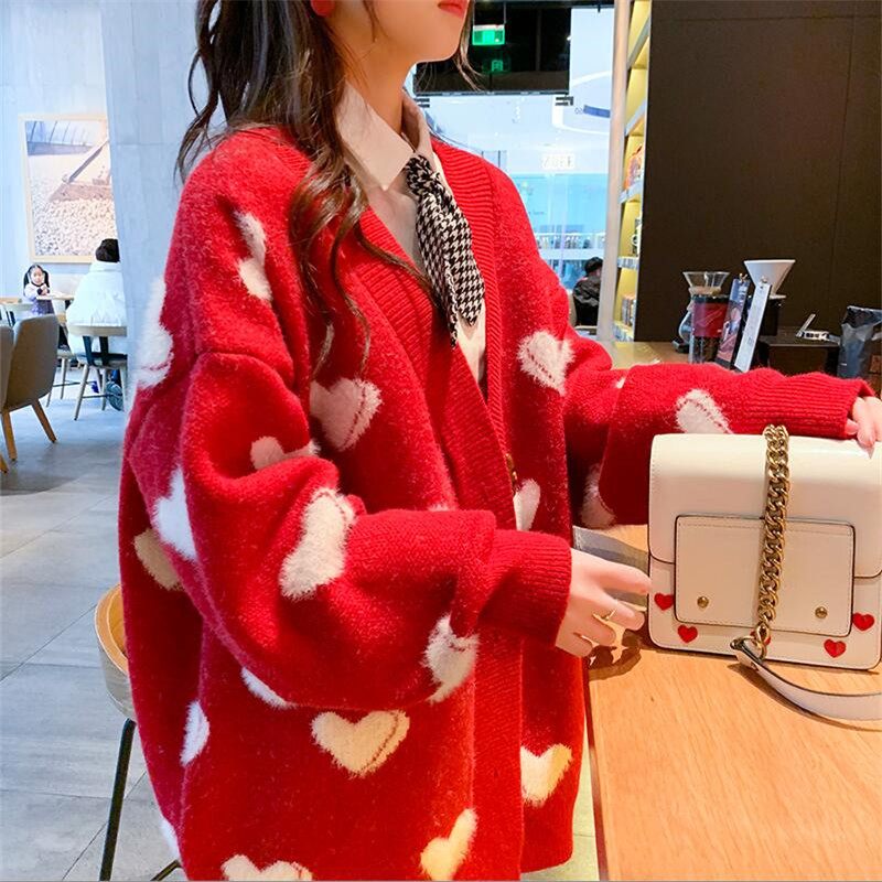 2019 Winter Women Sweater And Cardigans V-neck Long Sleeve Loose Knitted Jumpers Heart Streetwear Red Jacket Coat