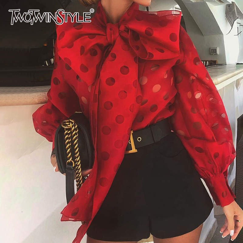 TWOTWINSTYLE Casual Ruched Women's Blouses Bow Collar Lantern Long Sleeve Lace Up Shirts For Female Fashion 2020 Clothing Tide