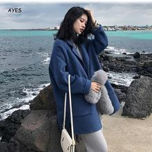 купить Women'S Winter Single-Breasted Woolen Coat Long Sleeve Blue Woolen Coat Women Lapel Sky Blue Korean Style Ladies Coats Outwear по цене 1868.61 рублей