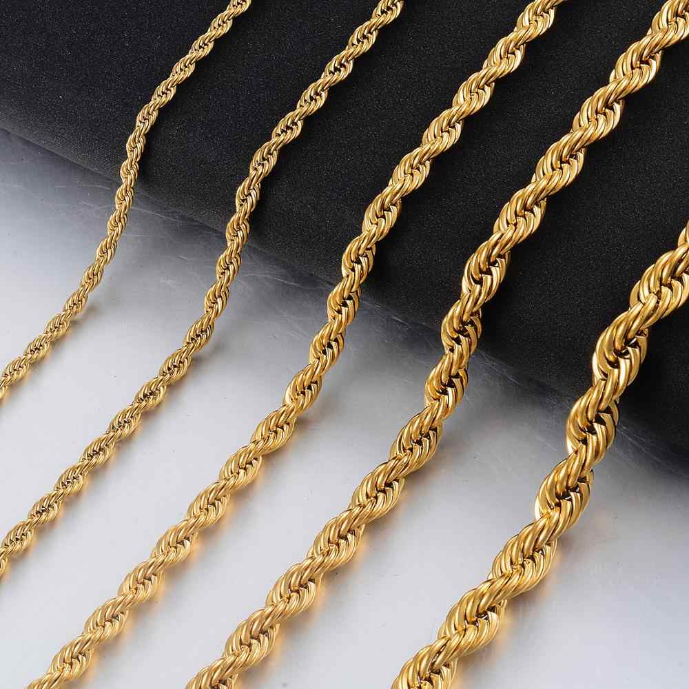 Gold Stainless Steel  Huge 6mm//7mm Rope Twisted chain Necklace Men/'s Gift 24/'/'