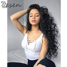 Long Black Wig Deep Wave High Temperature Fiber Free Part 15