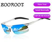 Occhiali da sole polarizzati sportivi in magnesio di alluminio di alta qualità uomo UV400 rettangolo guida esterna occhiali da sole BOOROOT